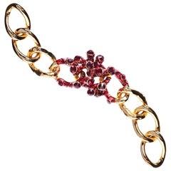 Simon Harrison Coral Red Enamel & Crystal Gold Plated Bracelet