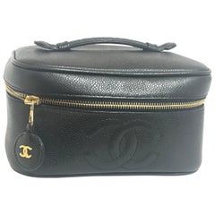 Chanel Vintage black caviar skin cosmetic and toiletry purse vanity bag