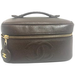 Chanel Vintage brown caviar skin cosmetic and toiletry purse vanity bag