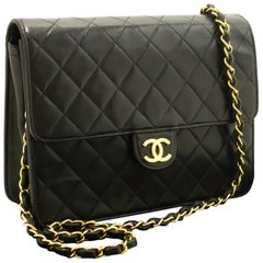 Chanel Small Chain Quilted Lambskin Black Clutch Flap Shoulder Bag
