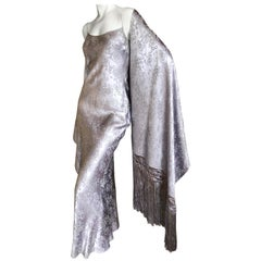 John Galliano 1990's Silk Jacquard Bias Cut Evening Dress w Piano Fringe Shawl