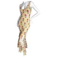 John Galliano 2004 Yellow Silk Flower Pot Pattern Ruffled Evening Dress