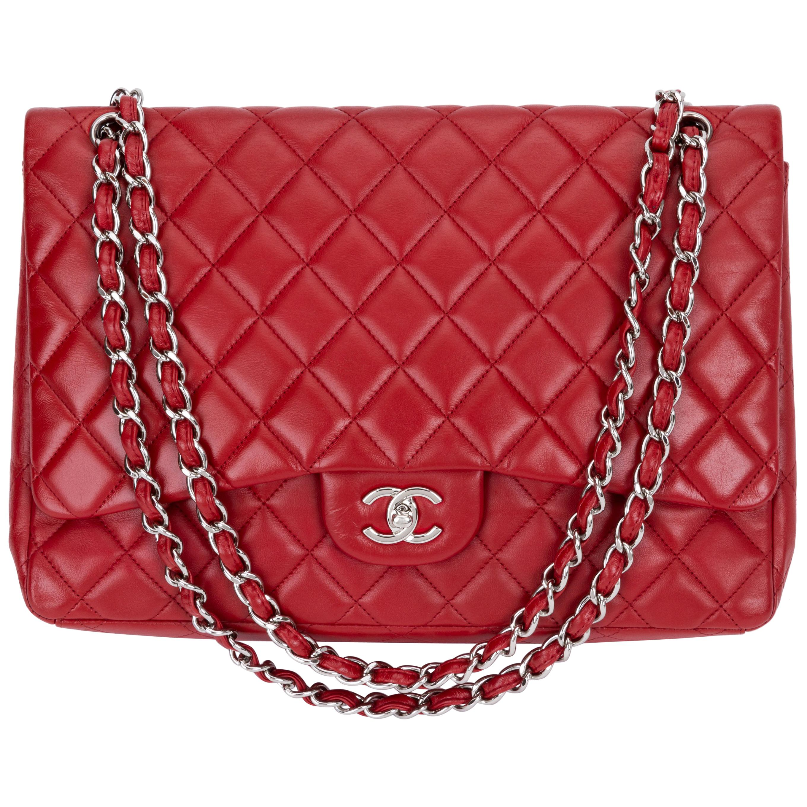 9e377f5534f3 Chanel Red Maxi Lambskin Single Flap Bag For Sale at 1stdibs