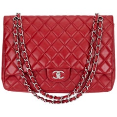 Chanel Red Maxi Lambskin Single Flap Bag