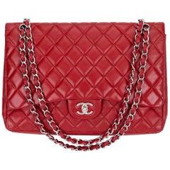 Chanel Red Maxi Lambskin Single Flap Bag