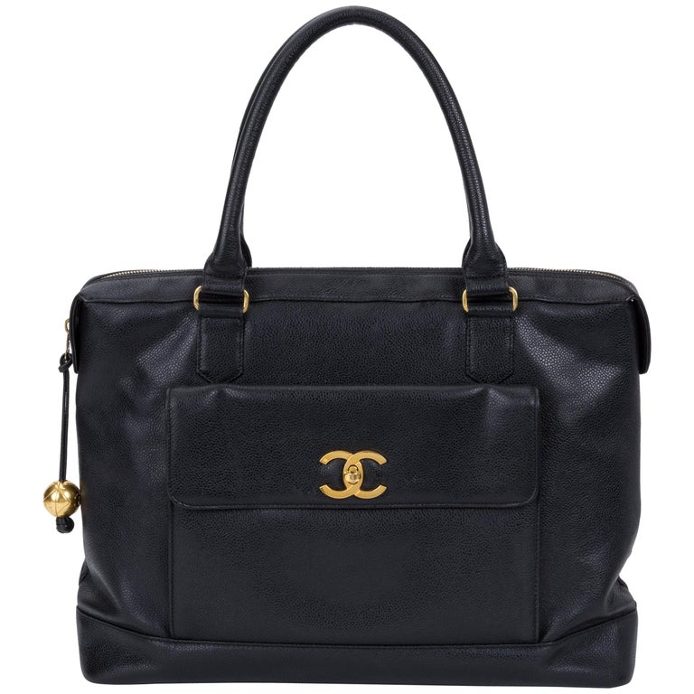 Chanel Vintage Black Caviar Day Bag, 1990s