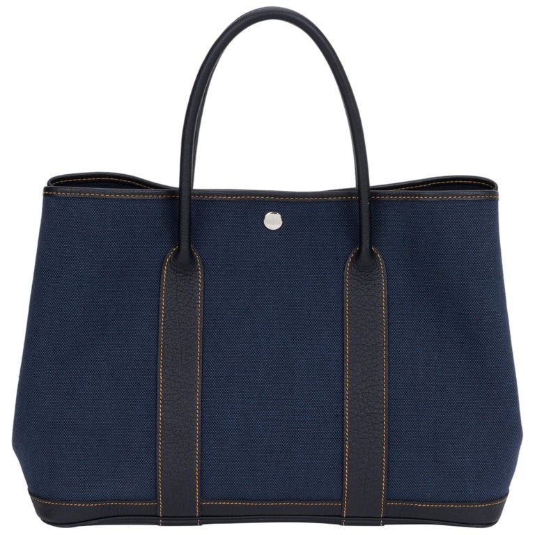 Hermes Large Blue Toile Garden Party Tote