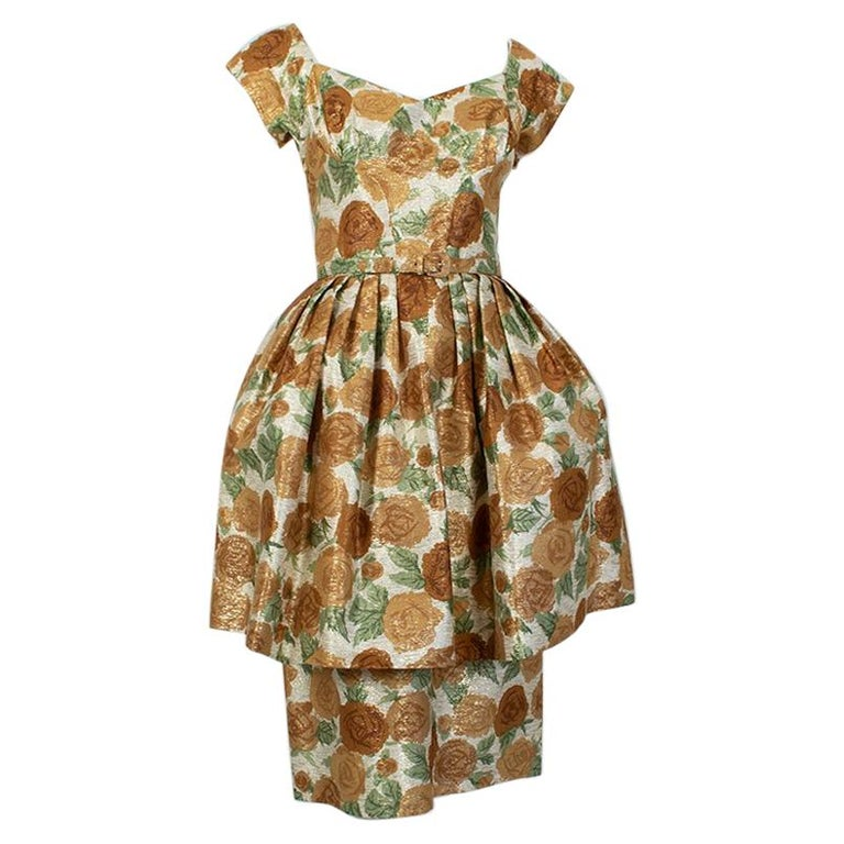 New Look Gold Floral Lampshade Party Dress, 1950s For Sale