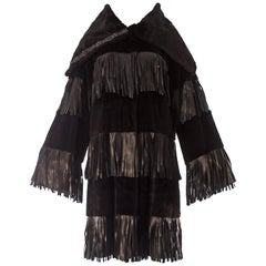 Dolce & Gabbana black sheared weasel fur coat with leather fringing, A / W 2003