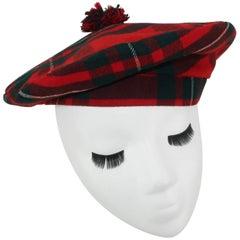 Tartan House Vintage Plaid Wool Tartan Tam Beret Hat