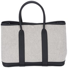 Hermes Ecru and Black Small Garden Party Tote