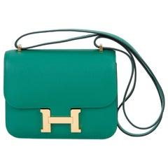 Neue Hermes Mini Constance Vert Vertigo Tasche