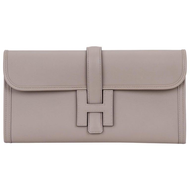 Hermes Gris Asphalt Swift Jige Elan Clutch Bag For Sale at 1stdibs 5d644ca94