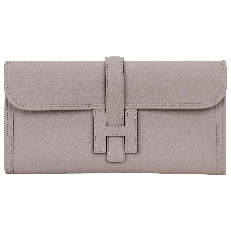 Hermes Gris Asphalt Swift Jige Elan Clutch Bag