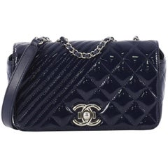 Chanel Coco Boy Flap Bag Quilted Patent Small
