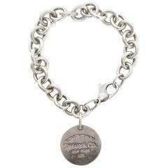 "Tiffany & Co ""Please Return"" Silver Chain Link Circle Logo Charm Bracelet 7"""