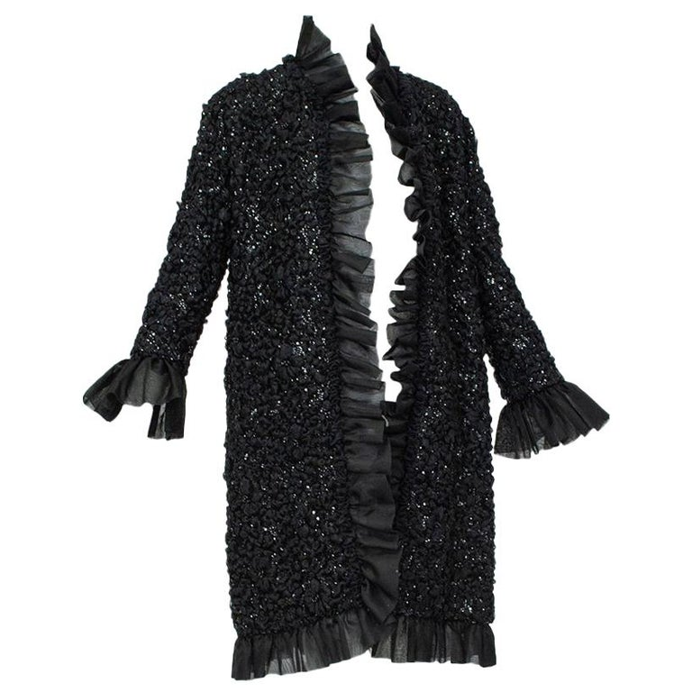 Tufted Chiffon and Sequin Opera Coat with Bell Cuffs, 1960s For Sale