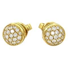 Jack Vartanian 18K Gold Pave Diamond Round Stud Earrings