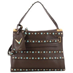 Valentino My Rockstud Convertible Satchel Leather with Cabochons Medium