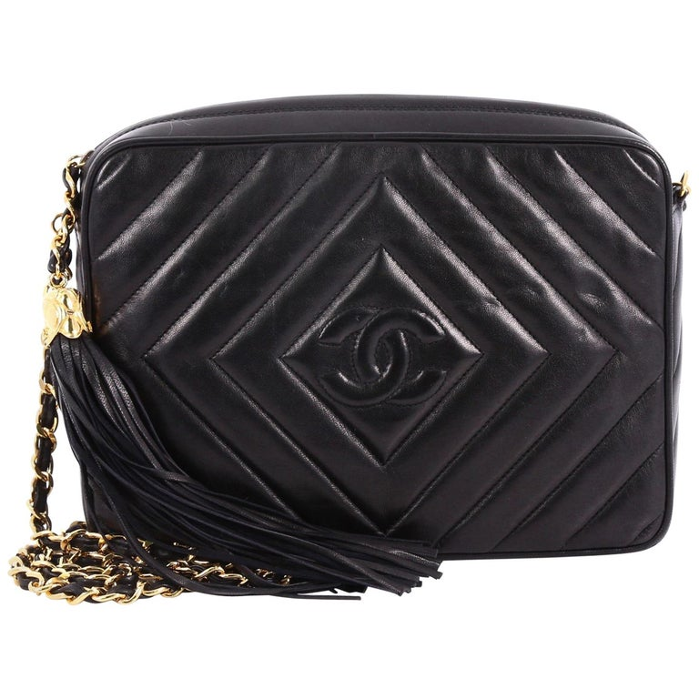 26c6b60643cc Chanel Vintage Chevron Camera Bag Quilted Leather Small at 1stdibs