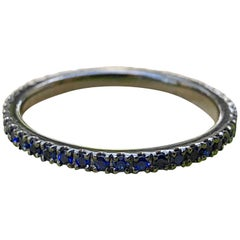 18k Gold with Black Rhodium Plating Eternity Band with 1.3mm Chatham Sapphire