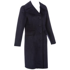 Marni Midnight Blue Wool Cashmere Angora Coat