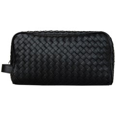 Bottega Veneta 2018 Nero Black Woven Intrecciato Leather Beauty Cosmetic Case