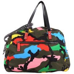 Valentino Rockstud Holdall Duffle Bag Camo Nylon Large