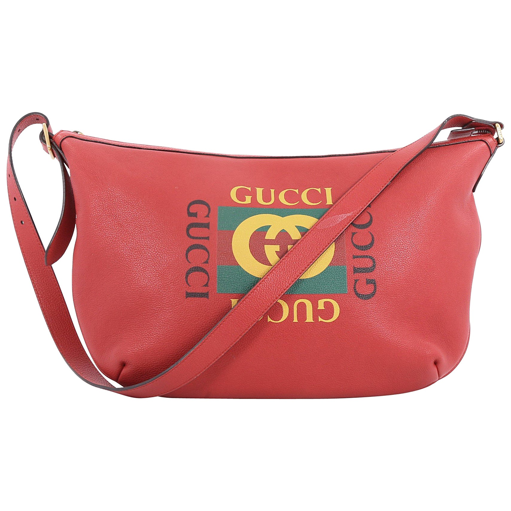 23532dc0b5f32c Gucci Logo Half-Moon Hobo Printed Leather at 1stdibs