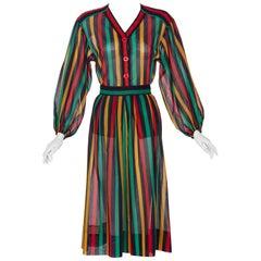 Yves Saint Laurent YSL Red Green Multicolored Striped Blouse / Skirt Set, 1990s