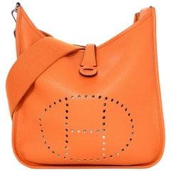 Hermes 2011 Orange Clemence Leather Evelyne III PM Messenger Crossbody Bag