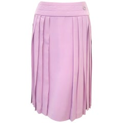 Chanel Lavender Silk Pleated Skirt