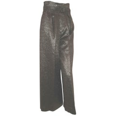 Christian Lacroix  Black and Gold Tone Metallic Chevron Design Palazzo Pants