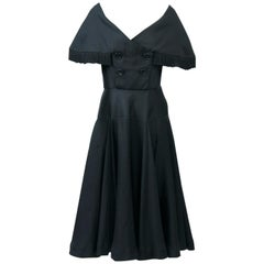 Jacques Fath 1950s Dress with Fringed Collar