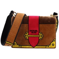 Prada Cahier Crossbody Bag Printed Velvet Small
