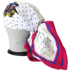 1980s Gucci Floral Polka-dot Silk Scarf