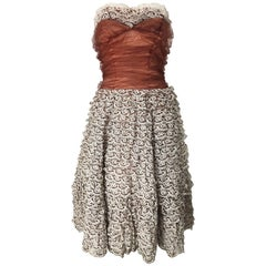 Stunning 1950s Demi Couture Taupe + Terra Cotta Vintage 50s Strapless Lace Dress