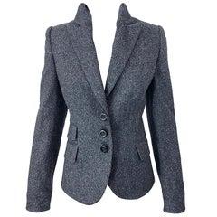 New John Richmond Size 44 / US 8 Slim Fit Gray Fitted Smoking Blazer Jacket