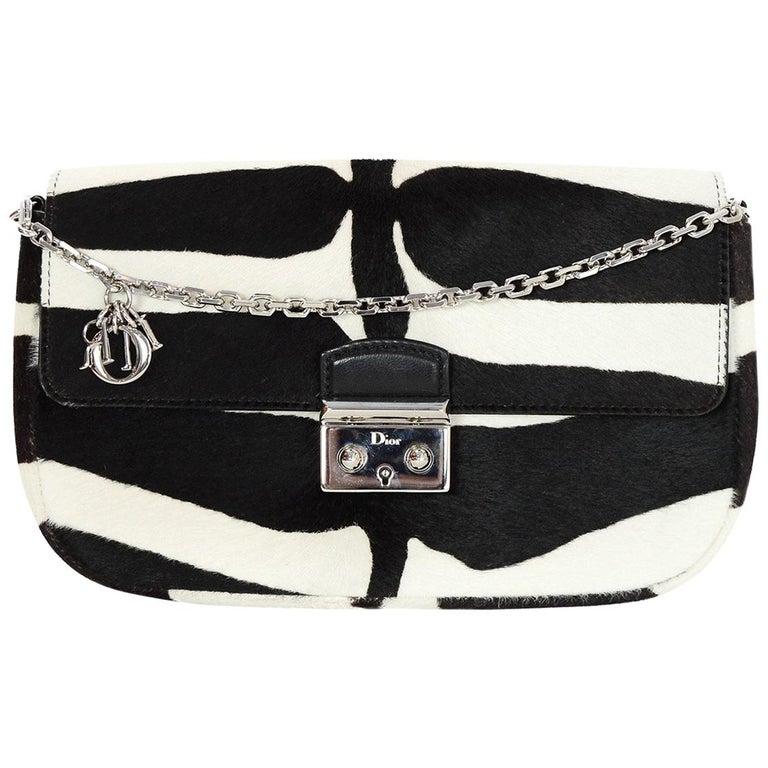 cbc3d47ccdb Christian Dior Zebra Black/White Ponyhair Miss Dior Promenade Crossbody Bag  For Sale