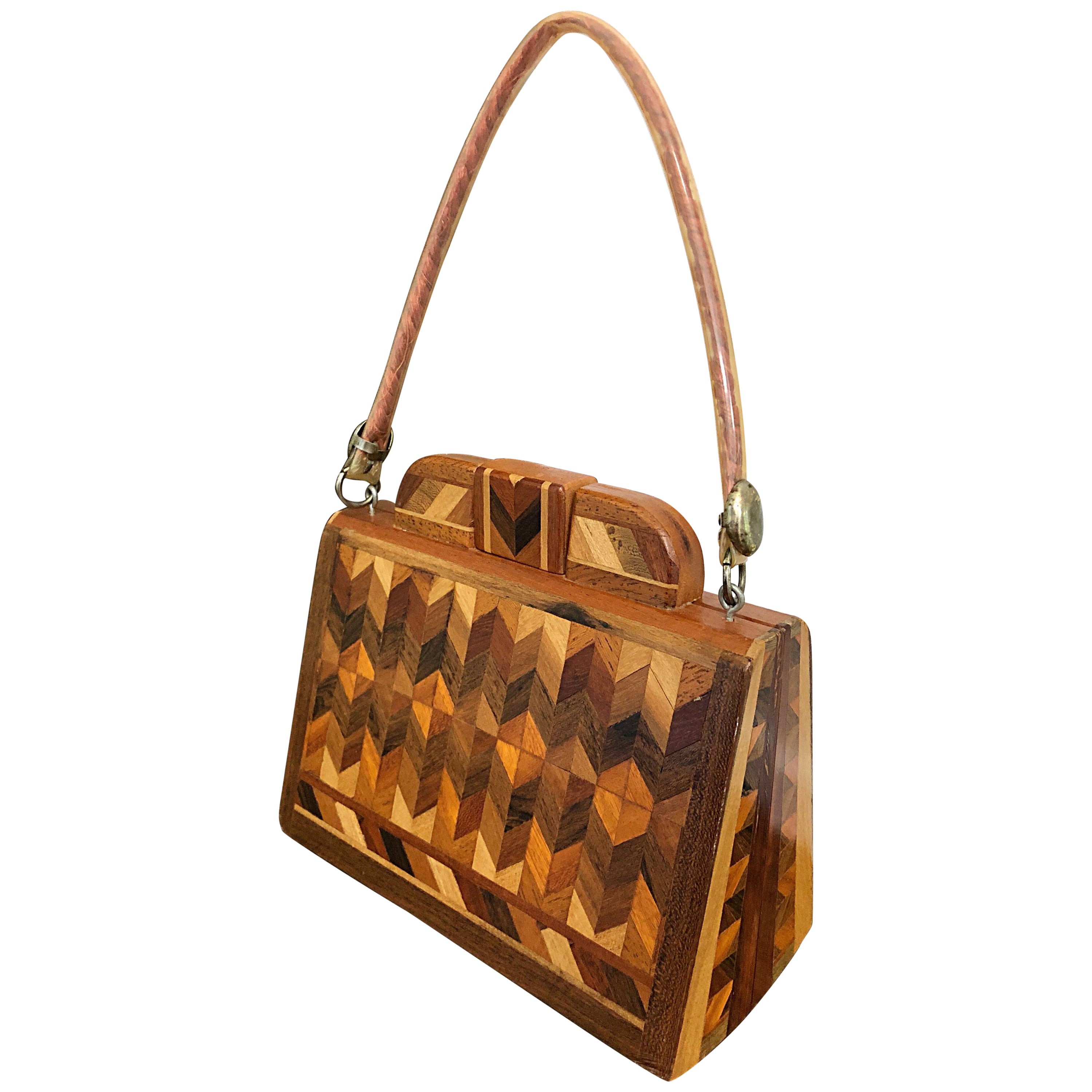 Chic 1960s Wood Patchwork Novelty Egyptian Triangular Purse Vintage 60s Hand Bag