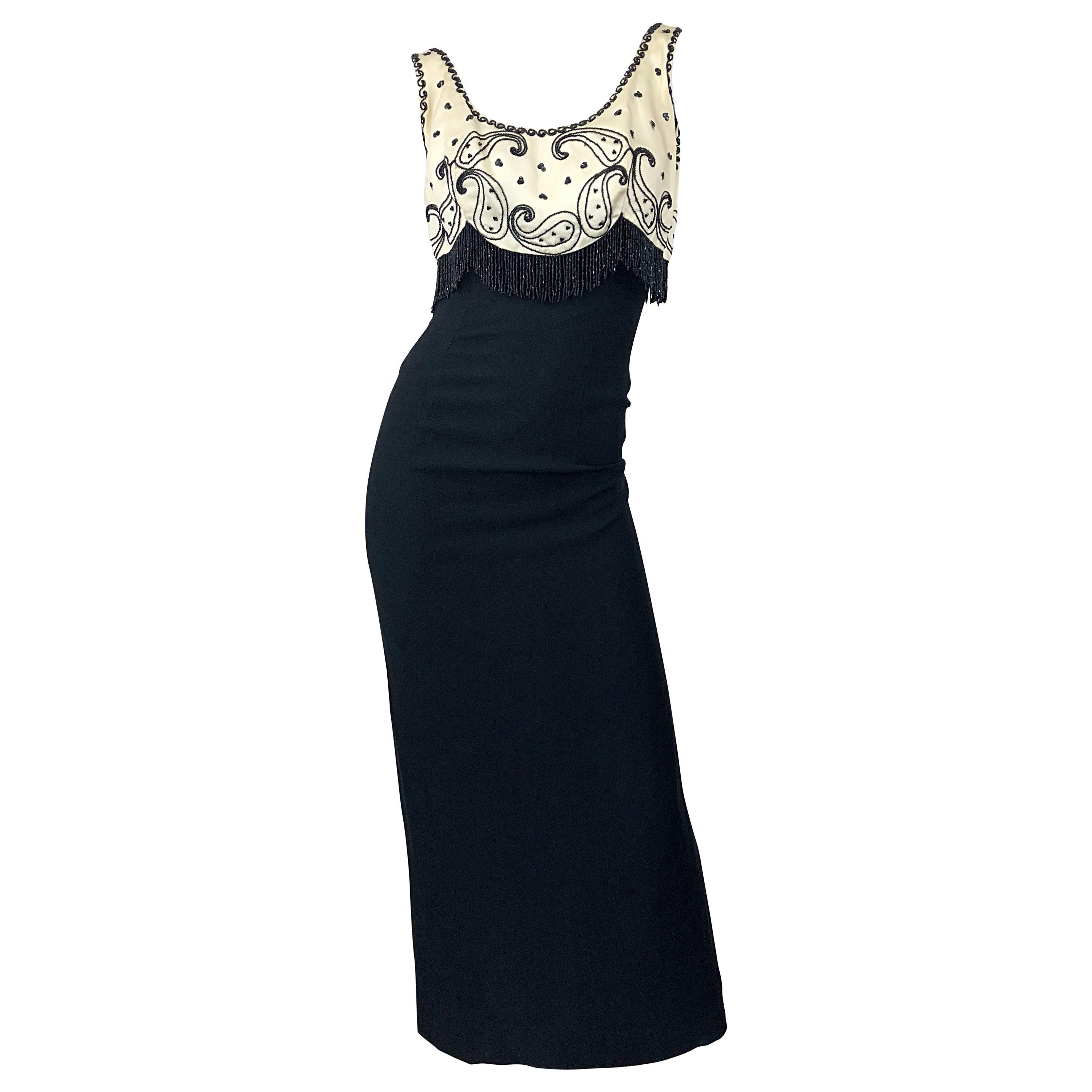 1950s Lilli Diamond Black and White / Ivory Beaded Vintage 50s Evening Gown