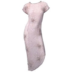Vintage 70s Lillie Rubin Firework Pale Pink Silk Bead Sequin Asymmetrical Dress
