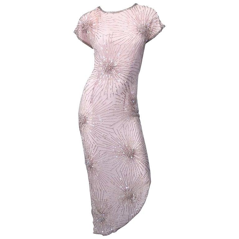 Vintage 70s Lillie Rubin Firework Pale Pink Silk Bead Sequin Asymmetrical Dress For Sale