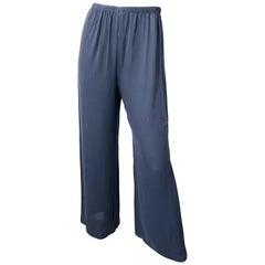 Vintage Calvin Klein Collection Size 6 Gray Silk Wide Leg 1990s Pants Trousers