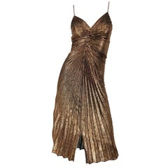 1970s Samir Sexy Golden Bronze Pleated Disco Studio 54 Slinky Vintage 70s Dress