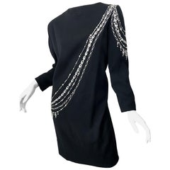 Vintage Bob Mackie Plus Size 1990s Black + Silver Rhinestone Long Sleeve Dress