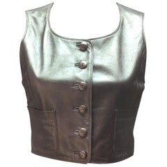 Chanel Silver Leather Cropped Vest