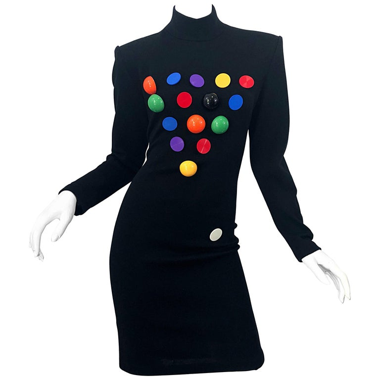 Documented 1980s Patrick Kelly Black Wool Pool Ball Vintage 80s Novelty Dress