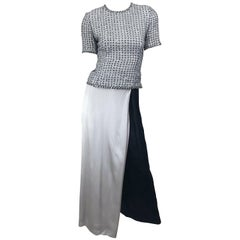 Rare Tarquin Ebker Silver Grey + Black Silk Palazzo Pants and Star Sequin Top