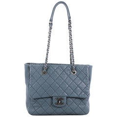 Chanel Front Flap Shopping Tote Quilted Washed Lambskin Large